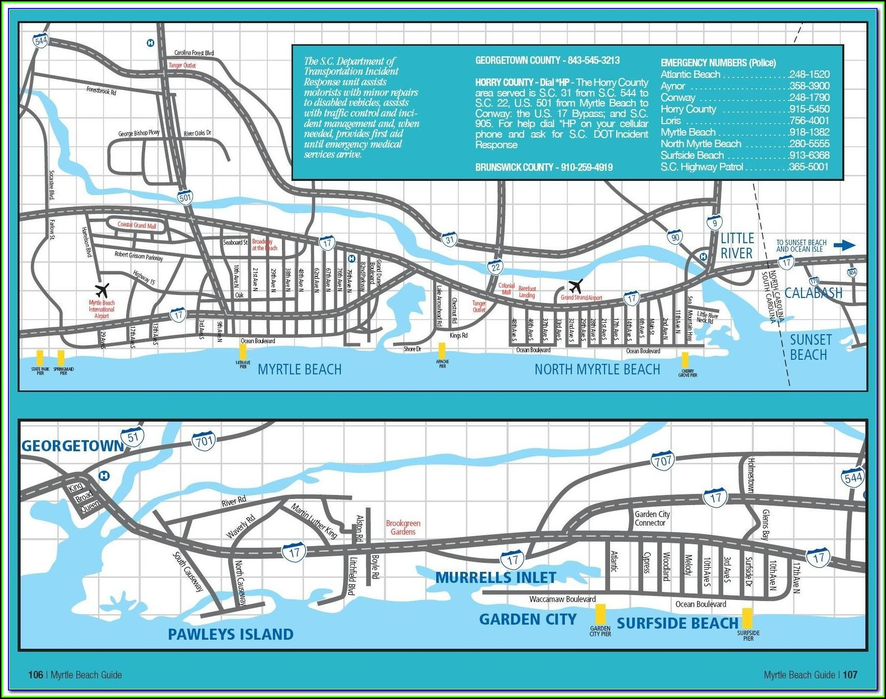 Map Of Hotels In Myrtle Beach South Carolina