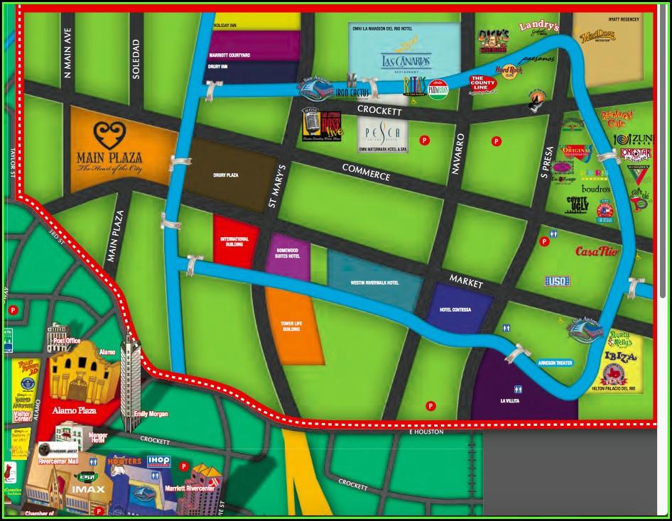 Map Of Hotels In San Antonio Riverwalk Area
