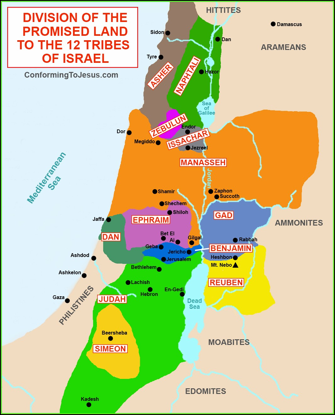 Map Of Israel 12 Tribes