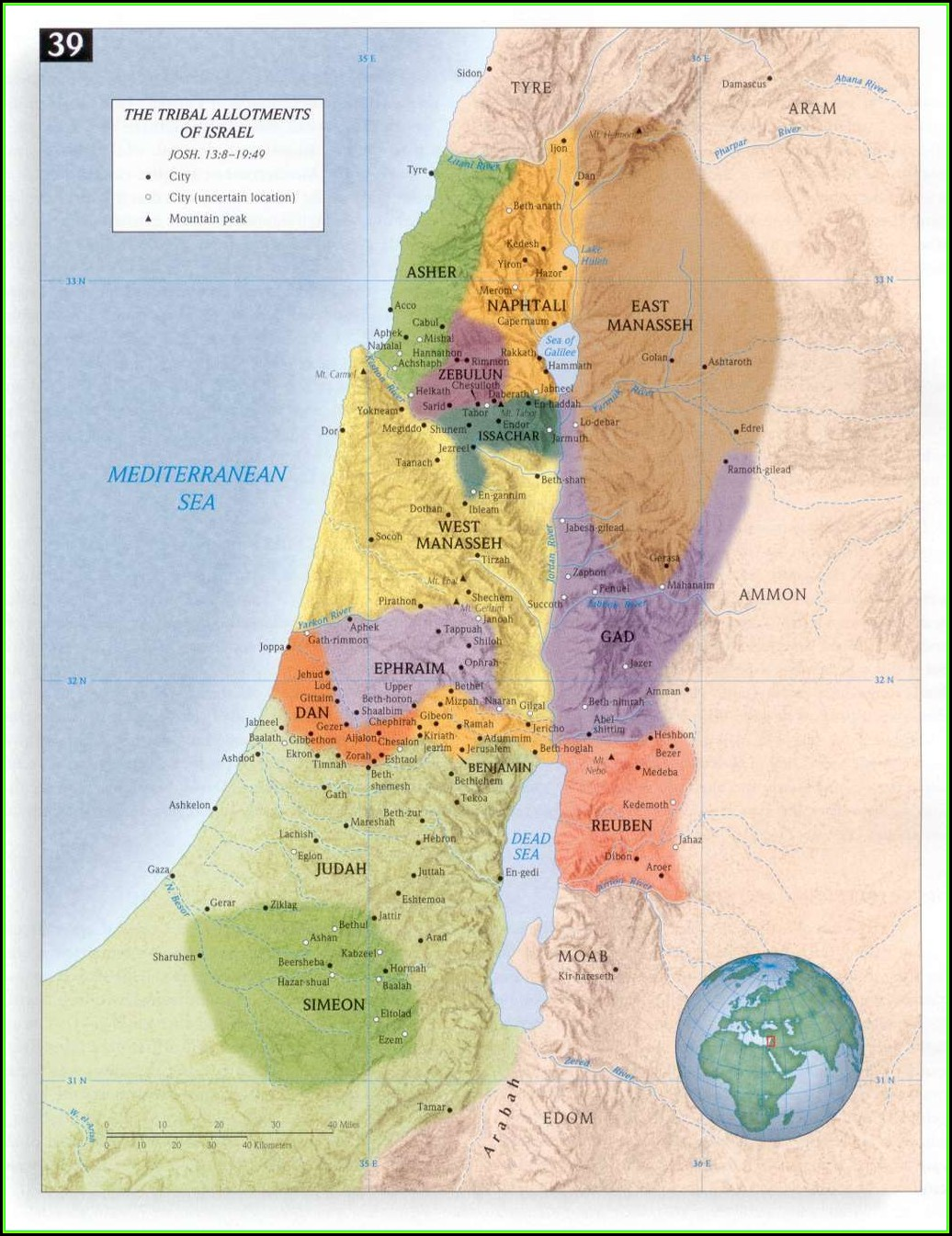 Map Of Israel Twelve Tribes