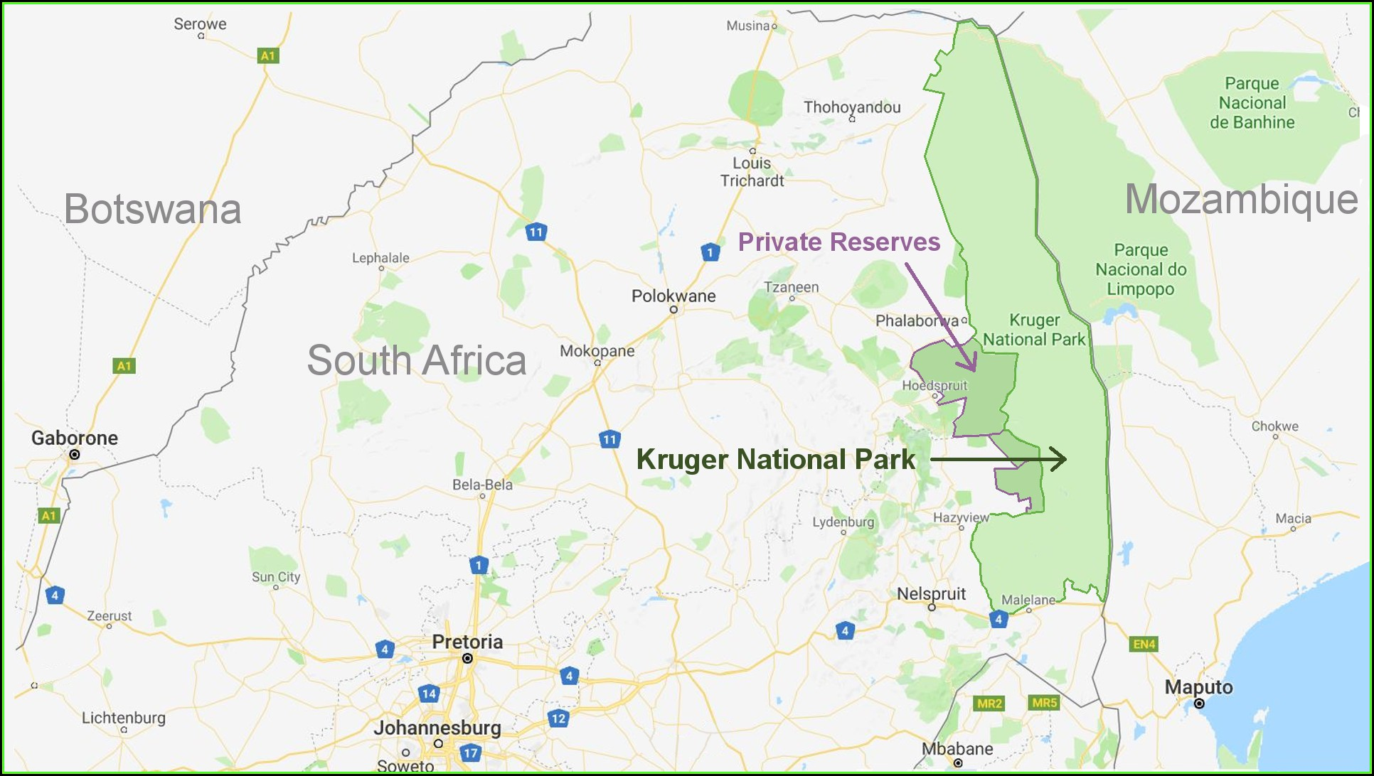 Map Of Kruger National Park Lodges