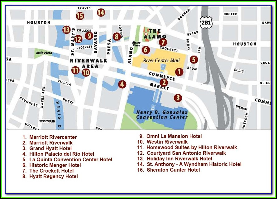 Map Of San Antonio Riverwalk Hotels