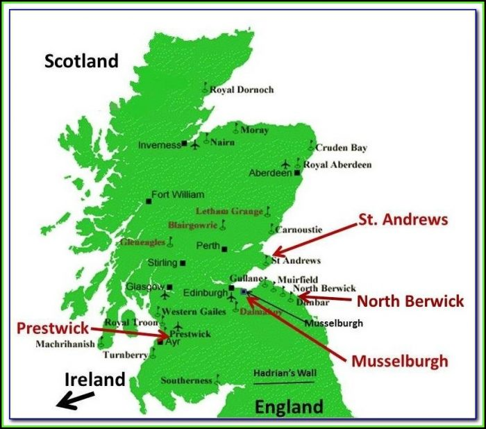 Map Of Scotland Showing Golf Courses
