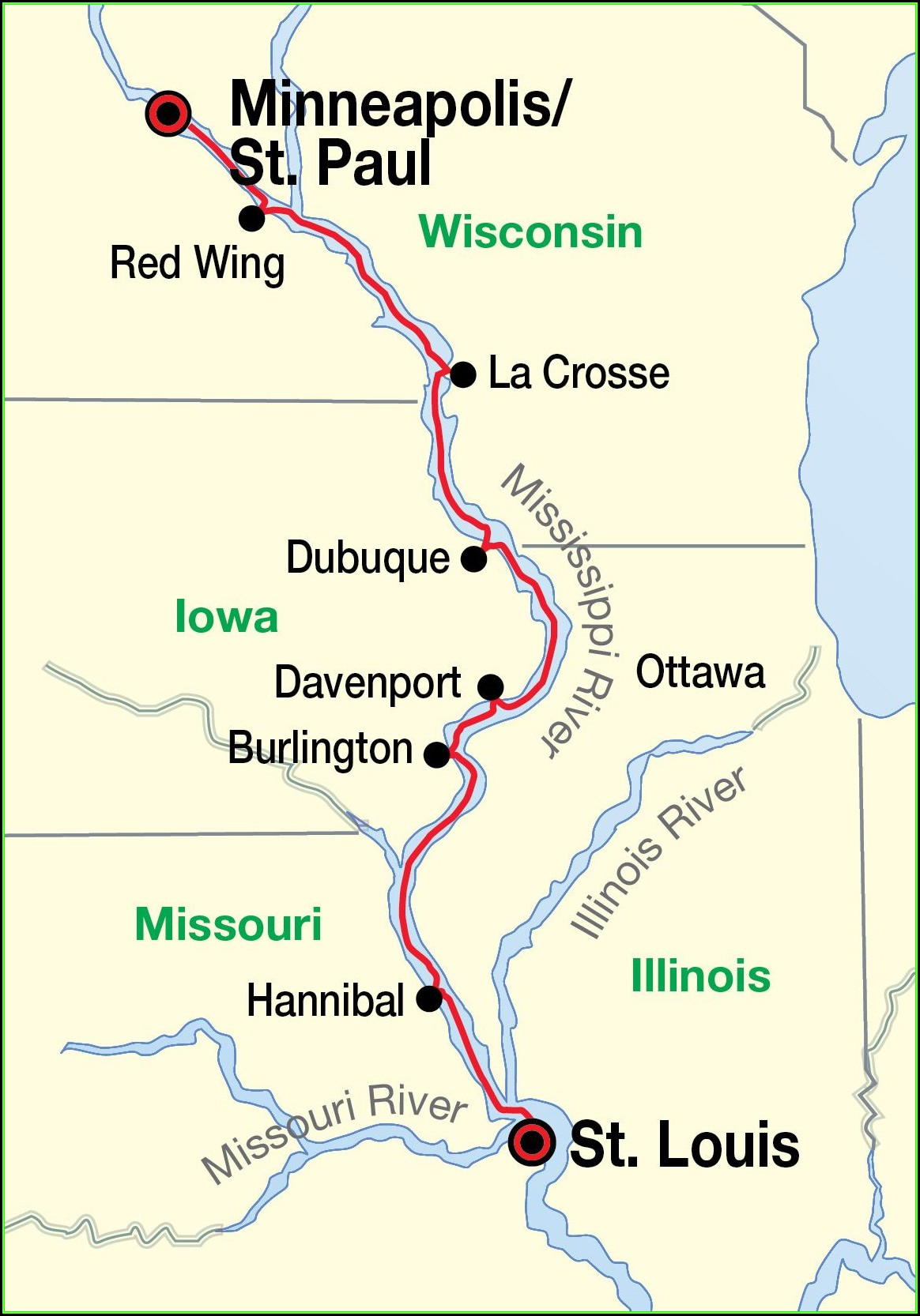 Map Of The Mississippi River In Missouri
