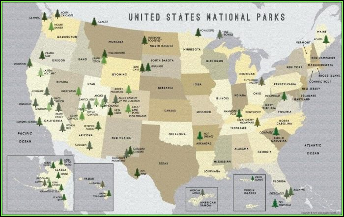 Map Of Us National Parks And Forests
