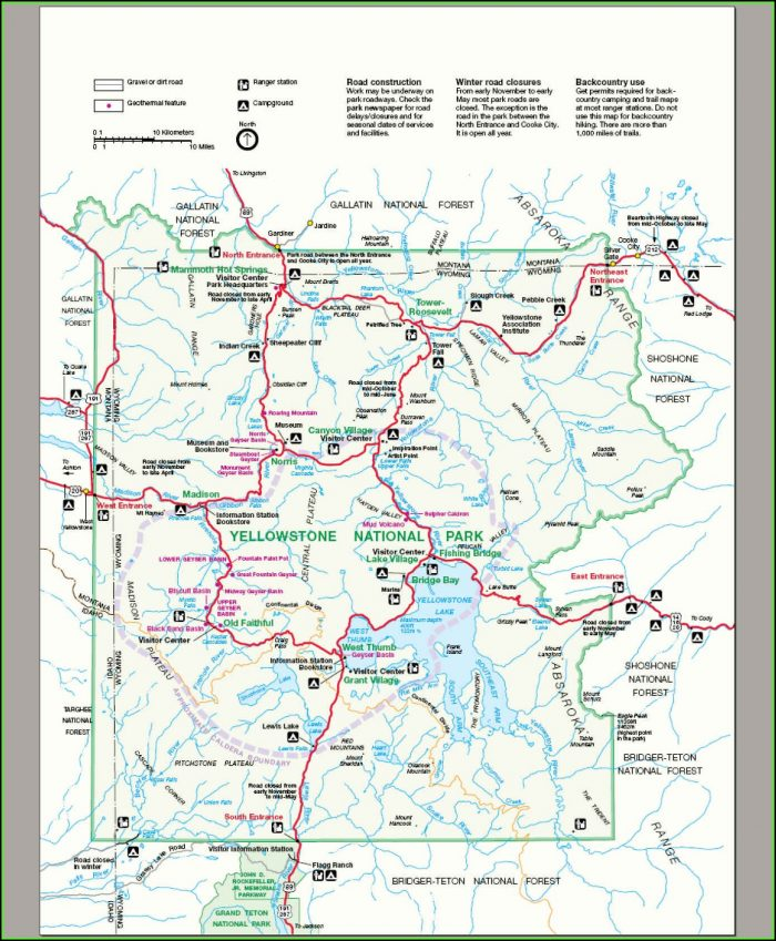 Map Of Yellowstone National Park Attractions