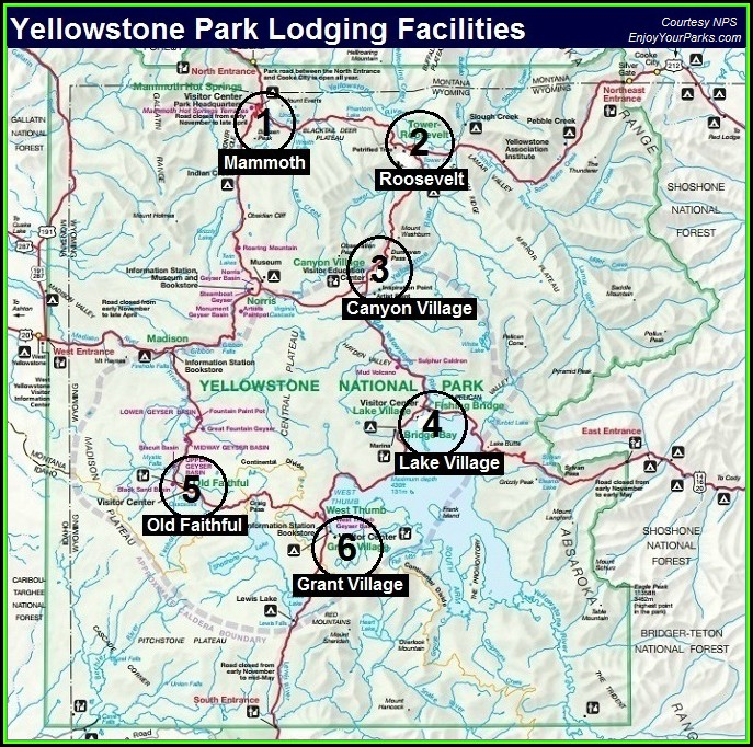 Maps Of Yellowstone National Park With Lodging