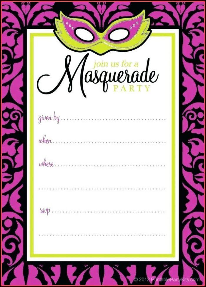 Masquerade Ticket Invitation Template