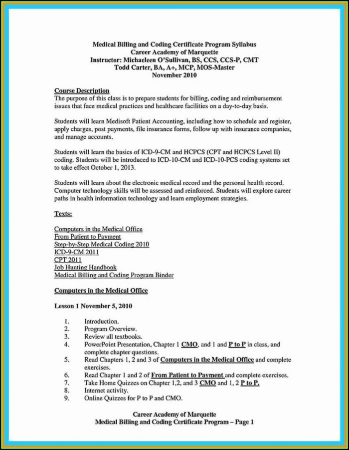 Medical Billing And Coding Internship Resume Samples