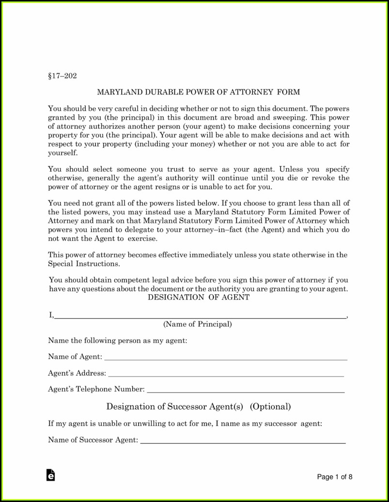Medical Durable Power Of Attorney Form Maryland