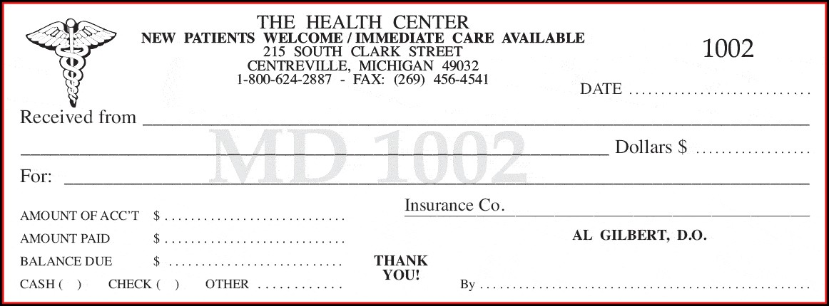 Medical Receipt Template Free