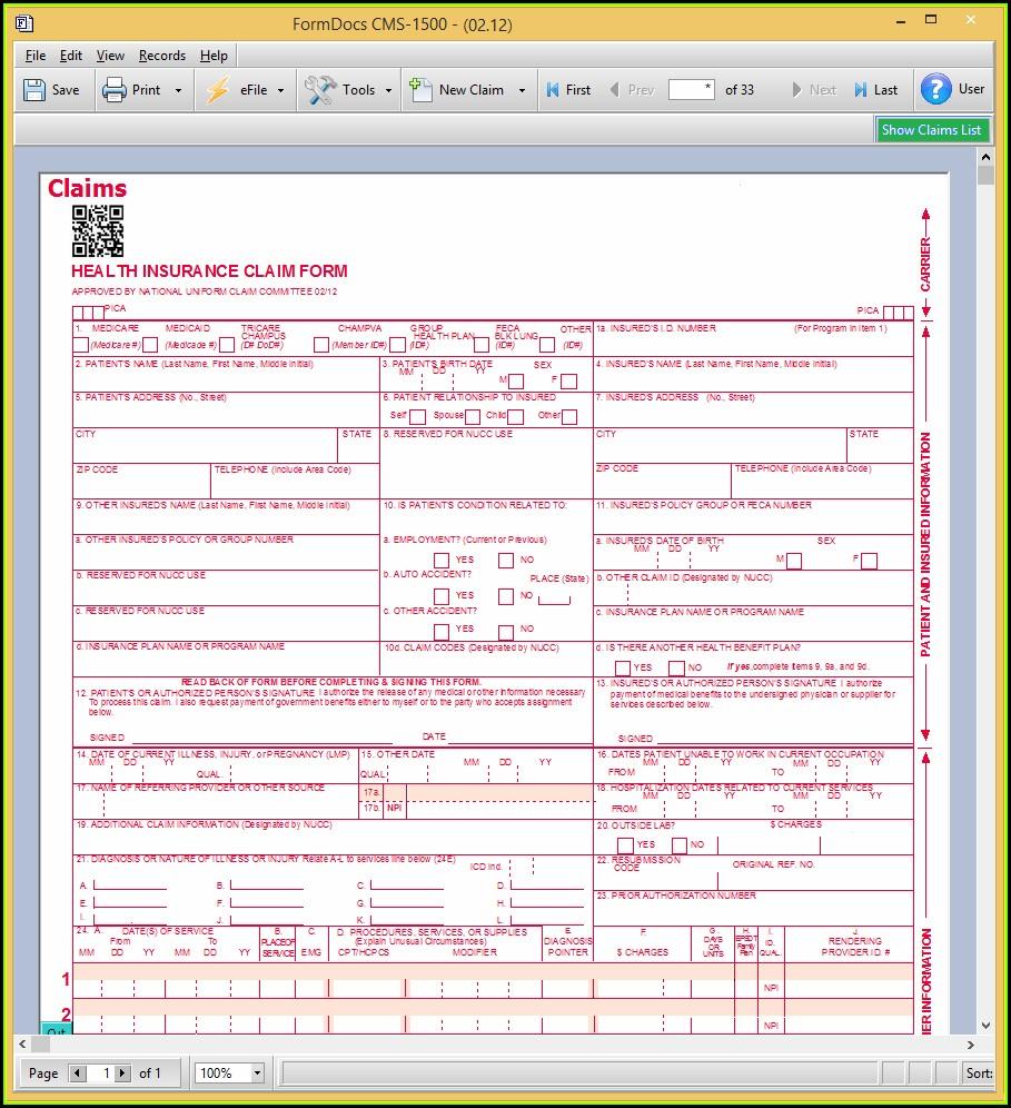 Medicare Billing Form Cms 1500