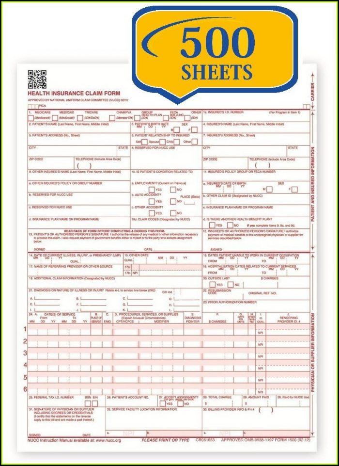 Medicare Billing Form Hcfa 1500cms 1500