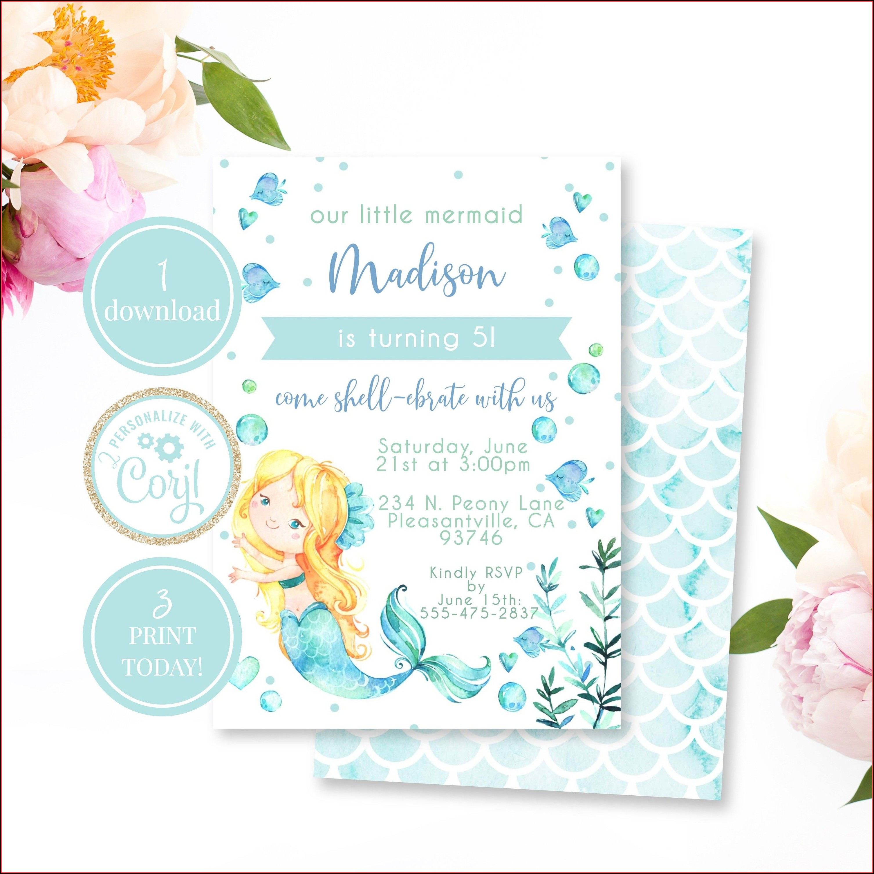 Mermaid Birthday Invitation Template