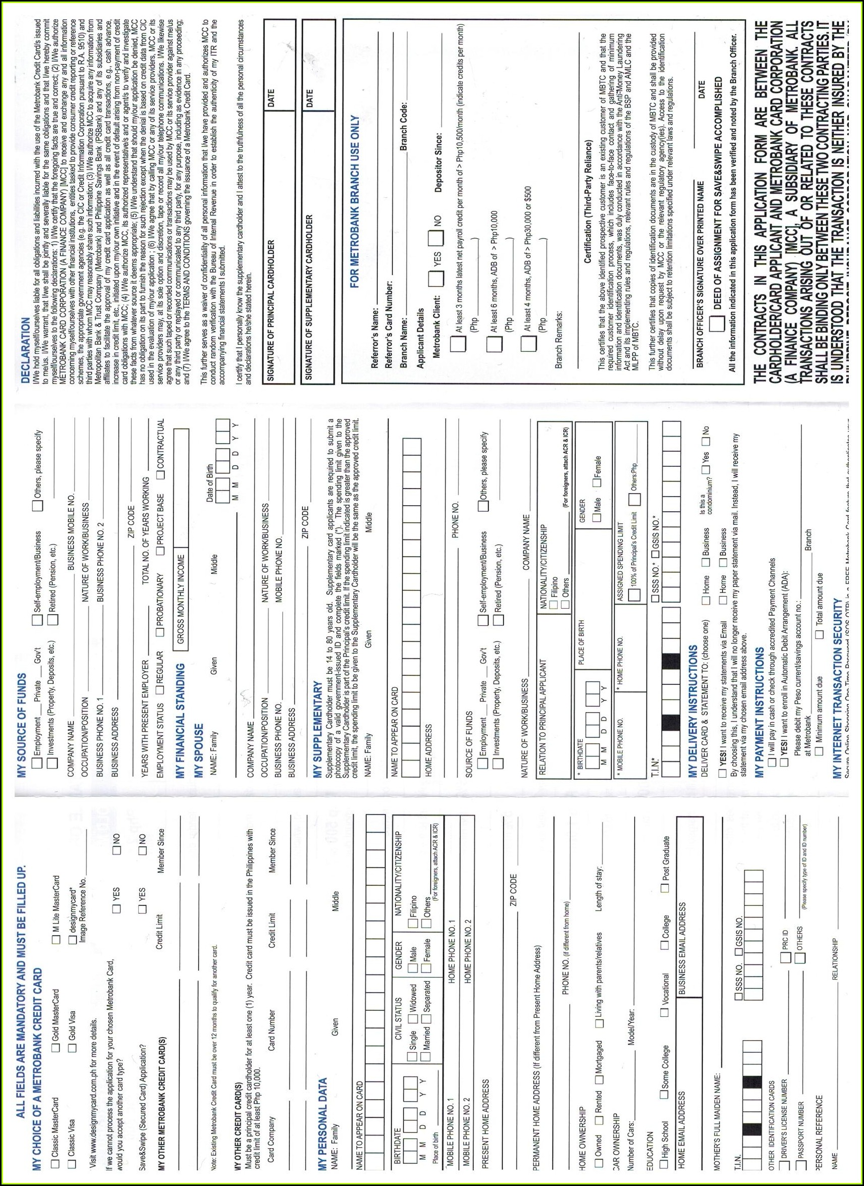 Metrobank Credit Card Application Form For Supplementary