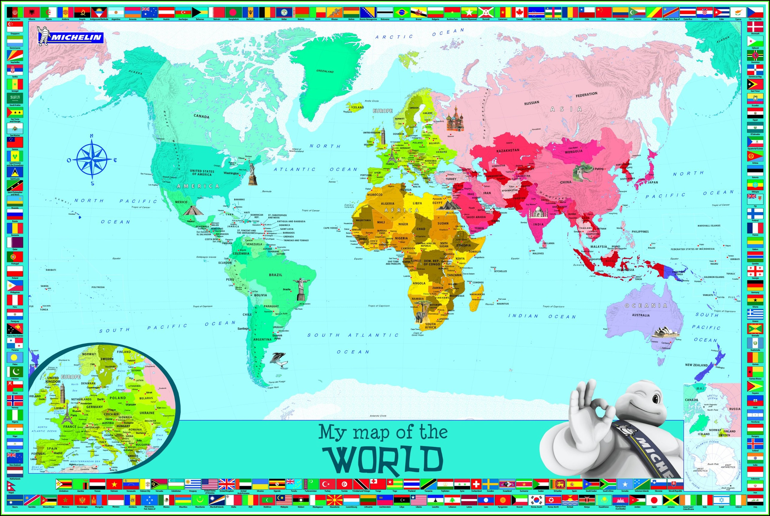 Michelin World Map Laminated
