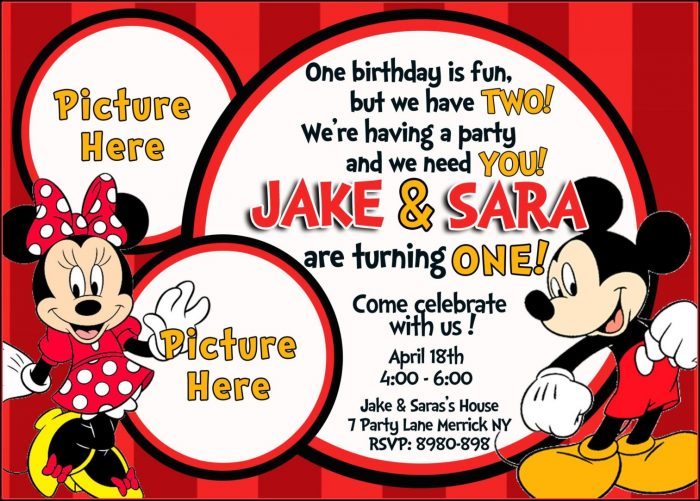 Mickey And Minnie Mouse Birthday Invitation Template
