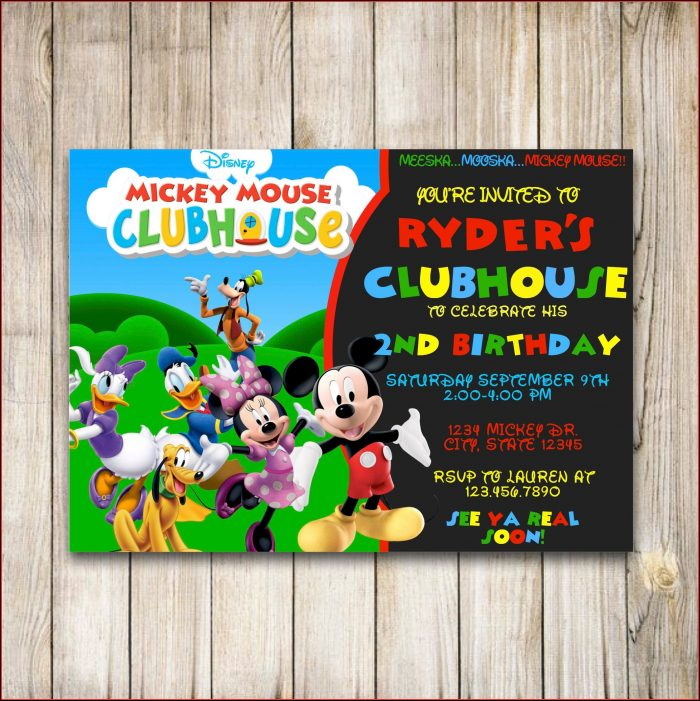 Mickey Mouse Birthday Invitation Layout