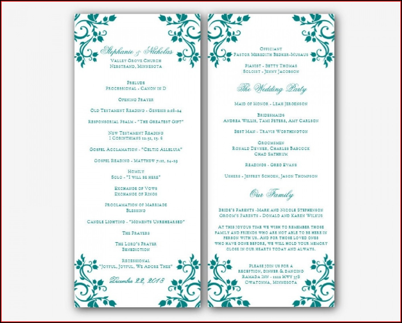 Microsoft Word Jewish Wedding Program Template