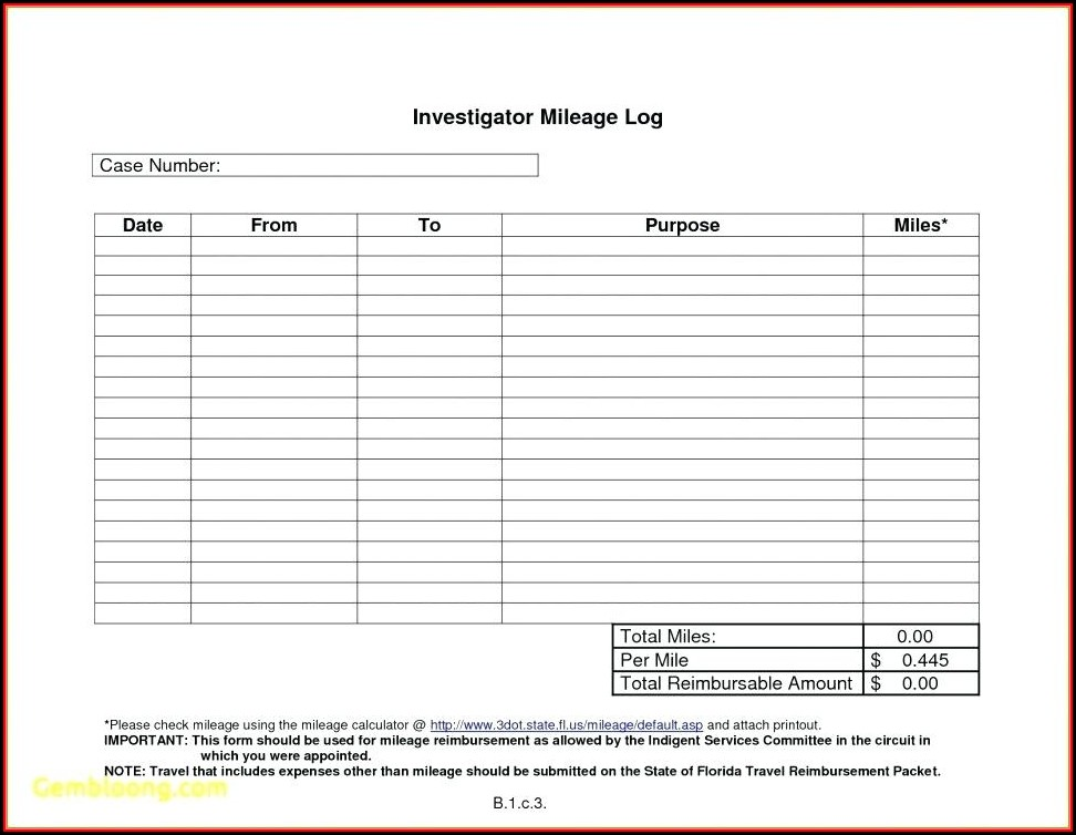Mileage Reimbursement Template 2017