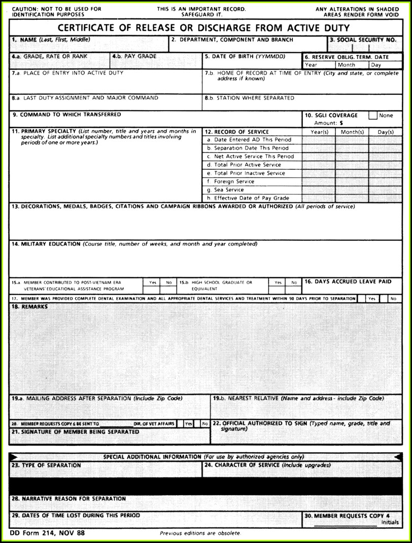 Military Retirement Form Dd214