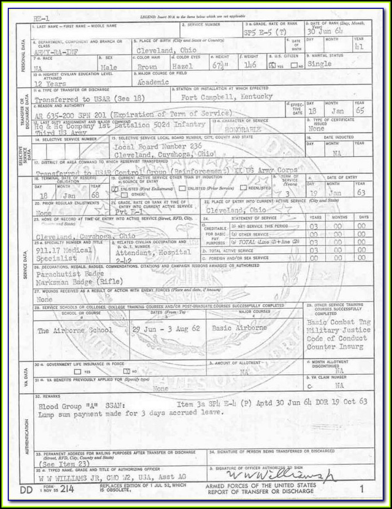 Military Service Discharge Form Dd214