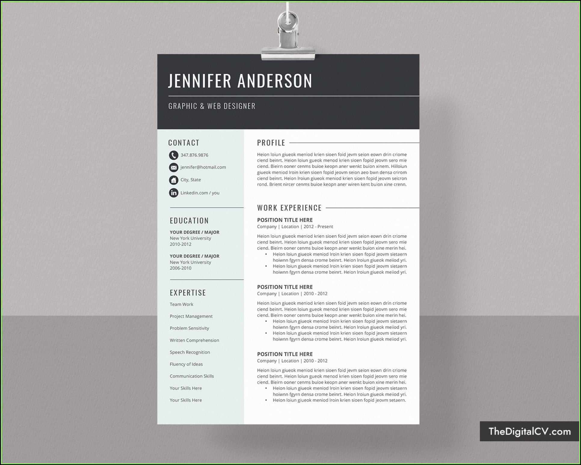 Modern Cv Template Word Free Download Doc