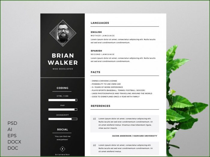Modern Cv Template Word Free Download Uk