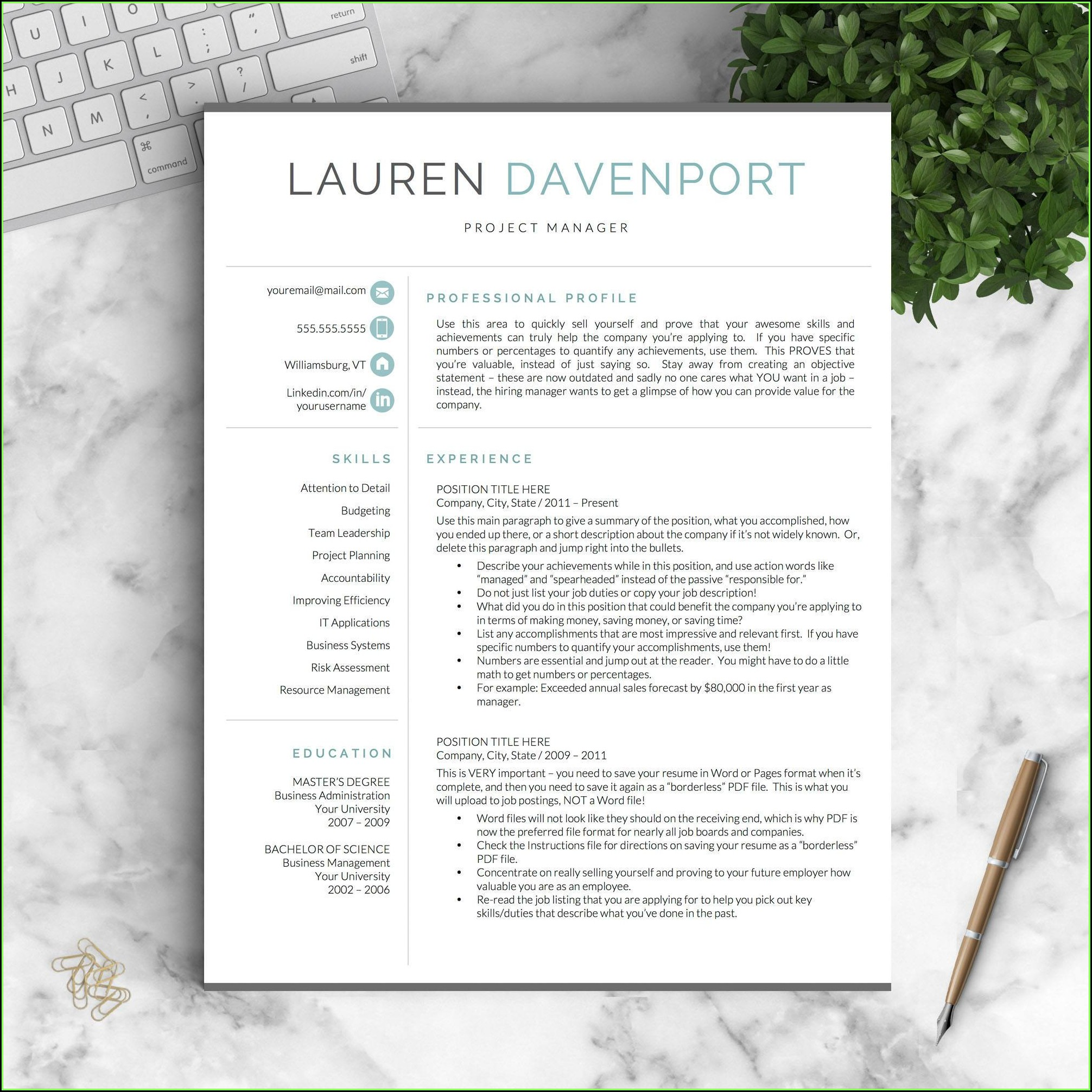 Modern Cv Templates Word Free Download