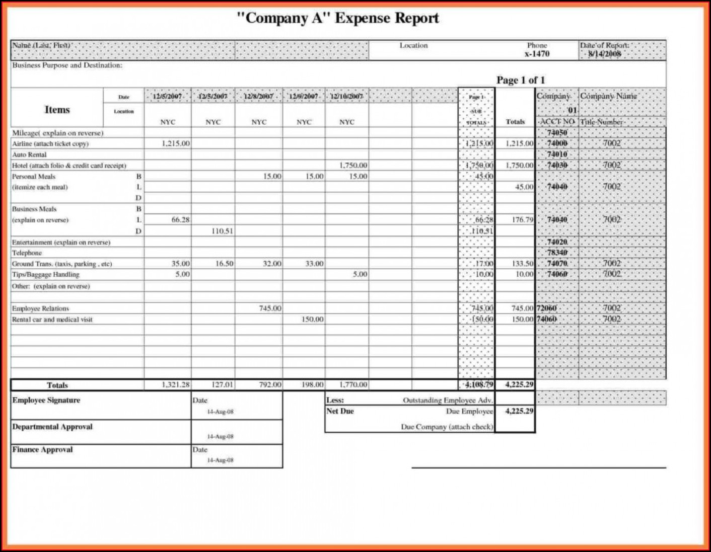 Monthly Business Expense Template Excel