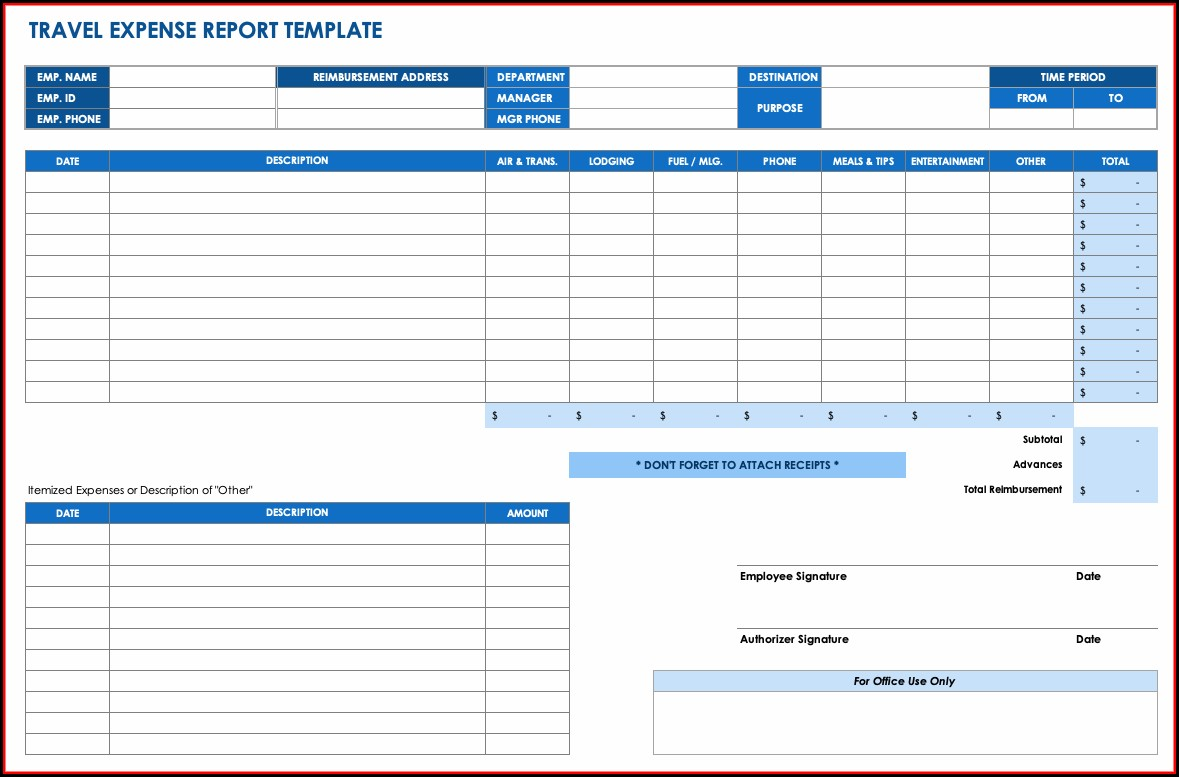 Monthly Travel Expense Report Template