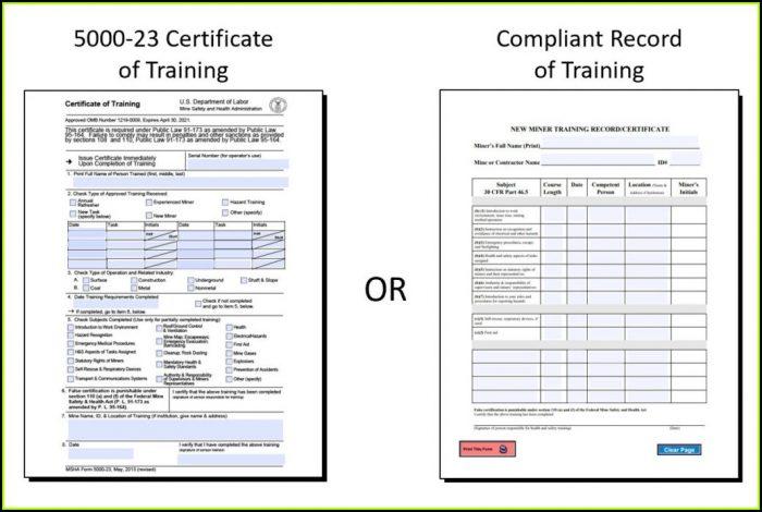 Msha Part 46 Training Forms