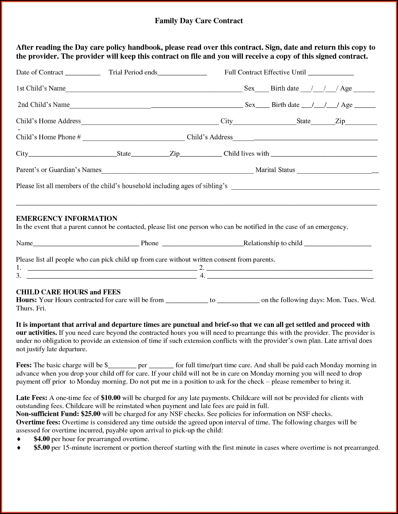 Nanny Contract Template Free