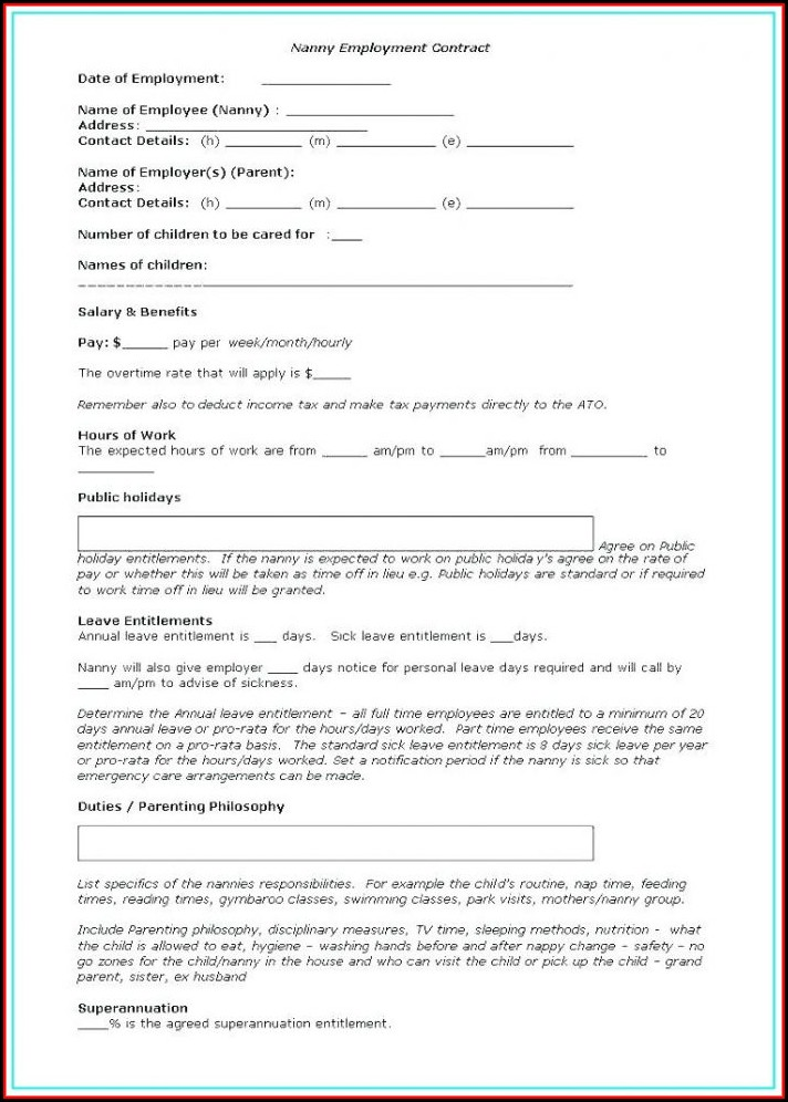 Nanny Contract Template Nz