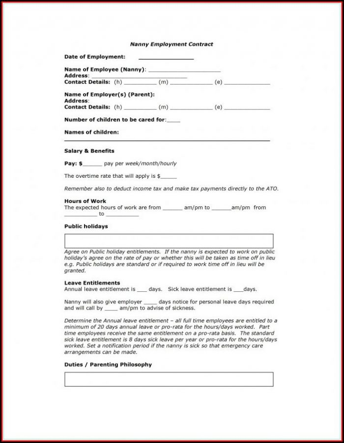 Nanny Contract Template South Africa