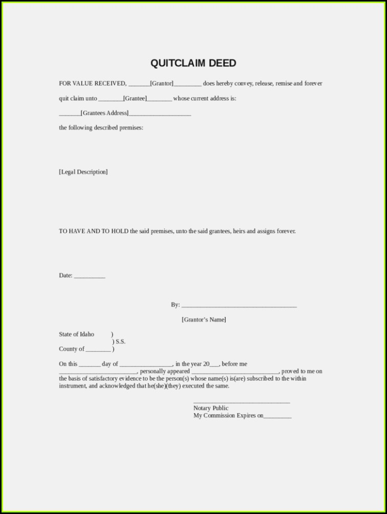 Nc Quit Claim Deed Form