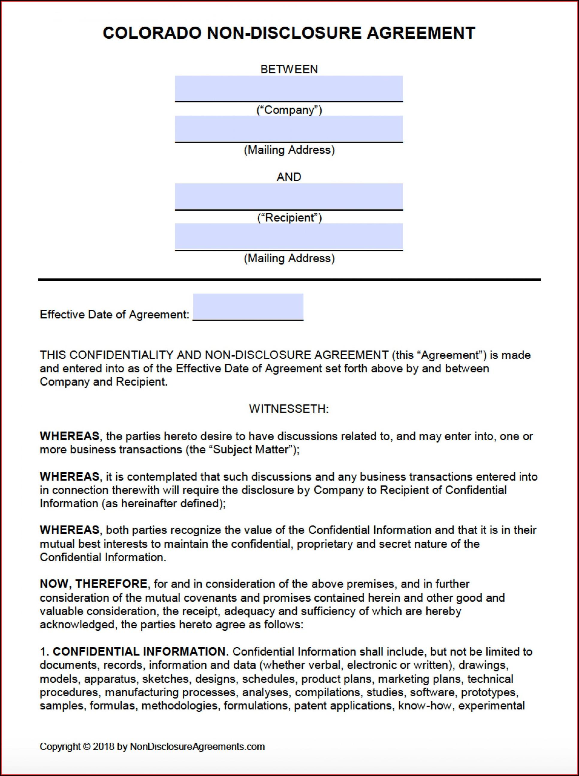 Nda Agreement Template Word