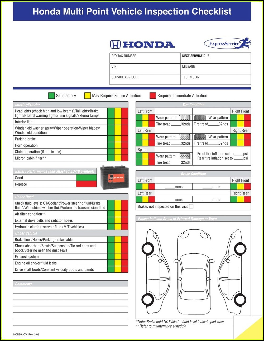 Nissan Multi Point Inspection Form Pdf