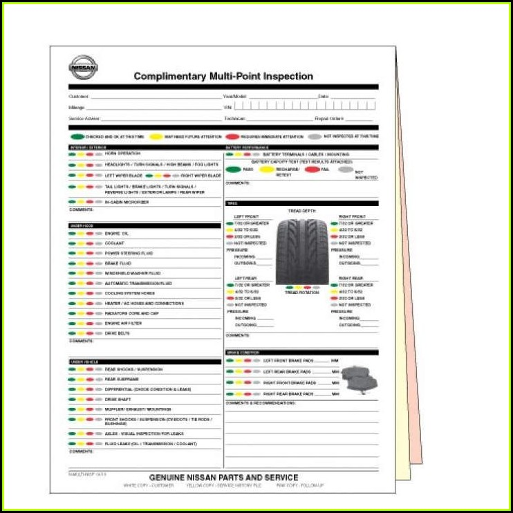Nissan Multi Point Inspection Form