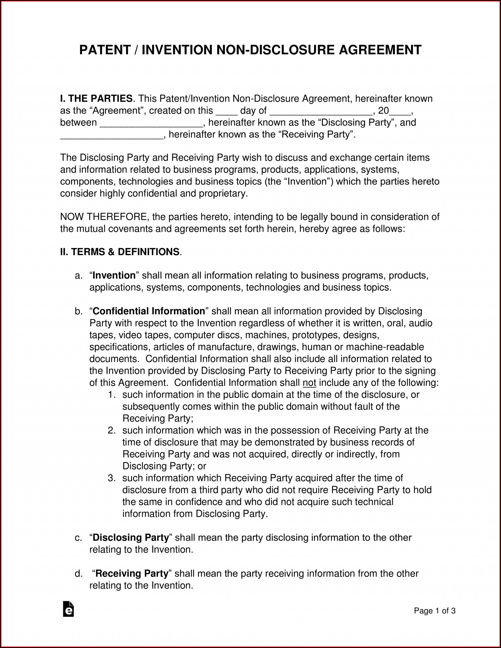 Non Disclosure Agreement Format Word