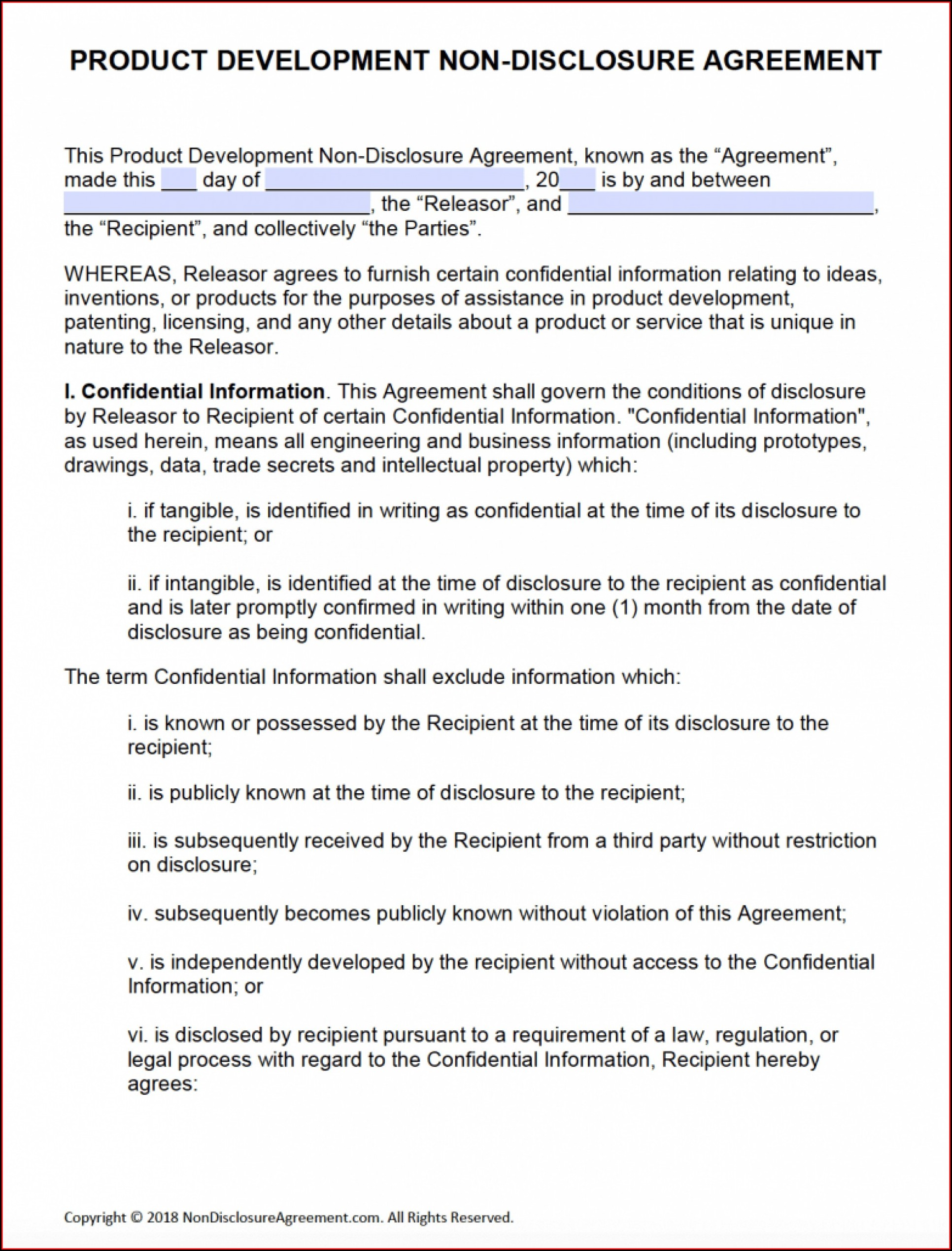 Non Disclosure Agreement Template Word Document