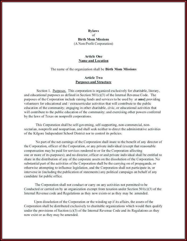 non profit bylaws template missouri template 1 resume. Black Bedroom Furniture Sets. Home Design Ideas