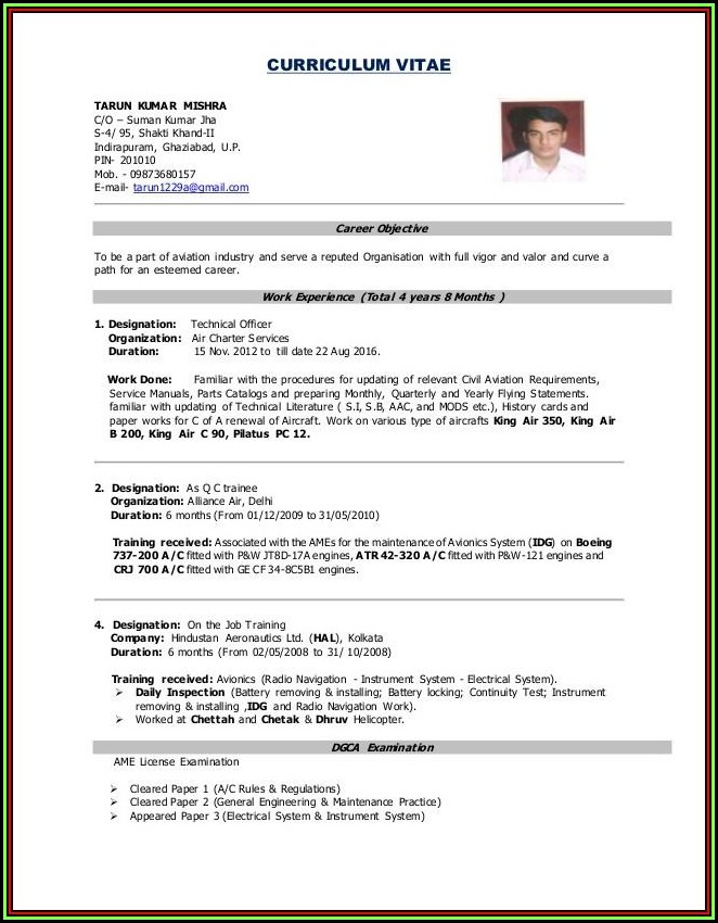Normal Job Resume Format Pdf