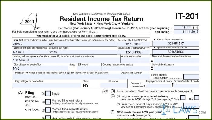Ny State Tax Form It 201