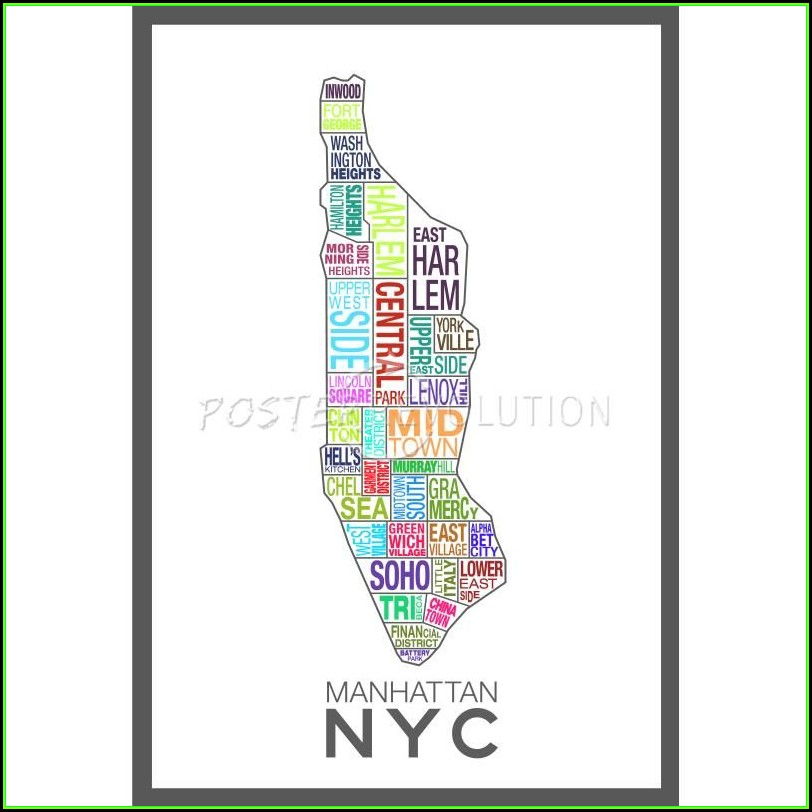 Nyc Neighborhood Map Poster