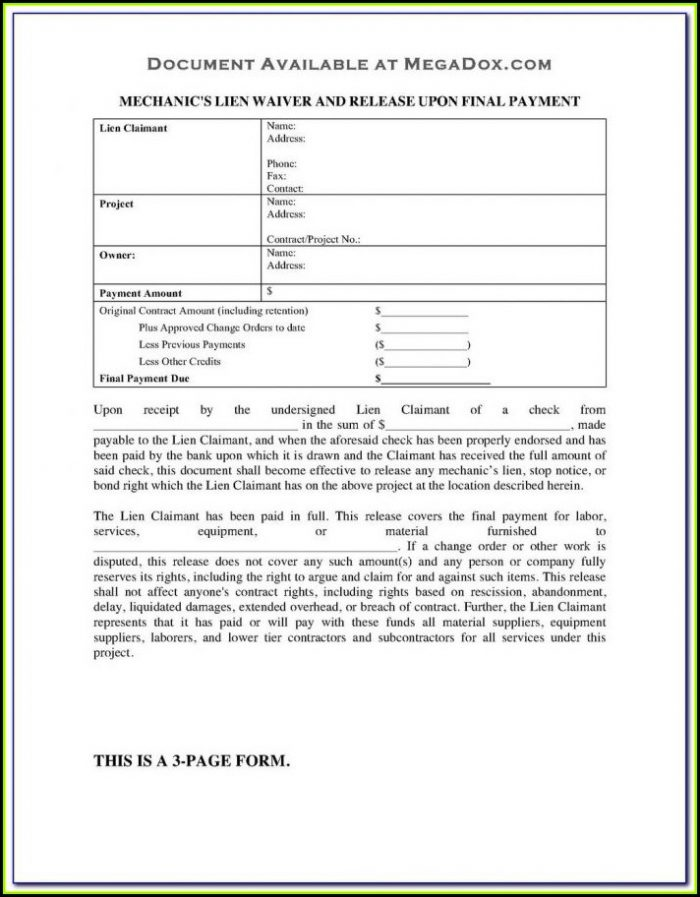 Nys Mechanic's Lien Form