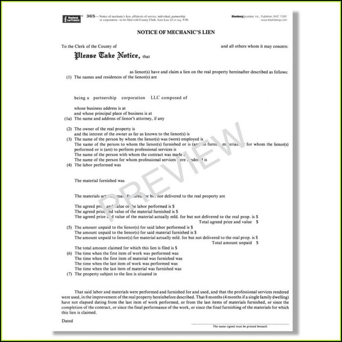 Nys Mechanics Lien Release Form
