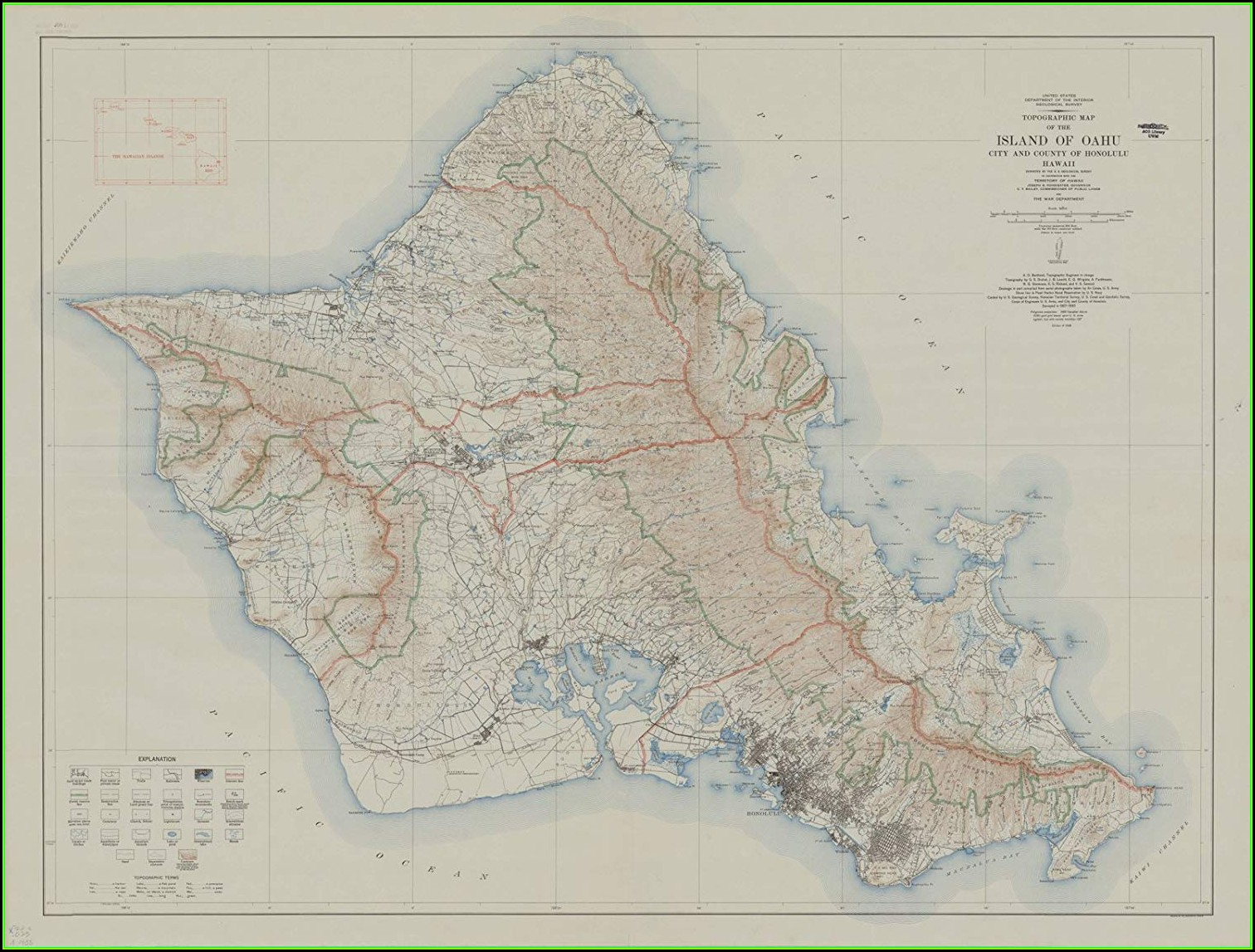 Oahu Hawaii Topographic Map