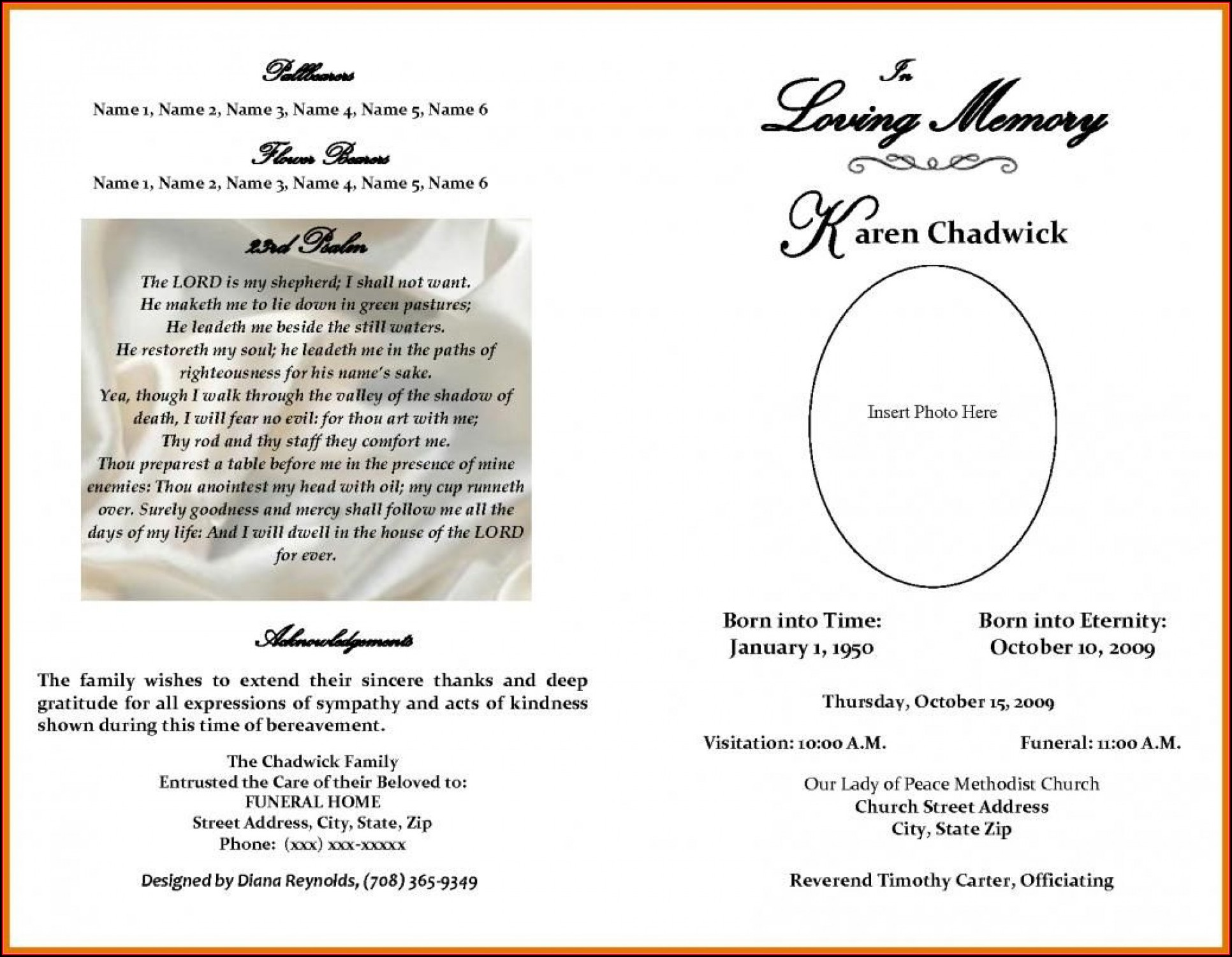 Obituary Program Layout