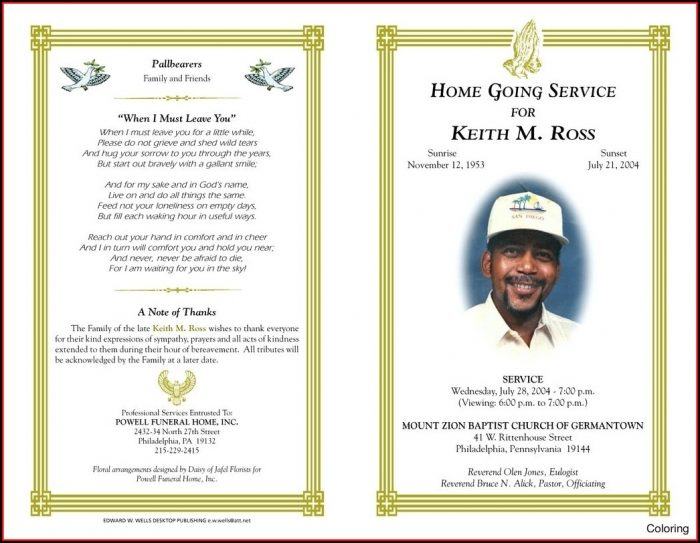 Obituary Program Template